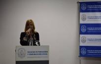 La Decana Florencia Saintout dándole la bienvenida a la Presidenta de la Asociación Madres de Plaza de Mayo